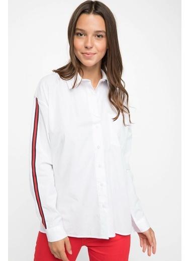 DeFacto Şerit Bant Detaylı Gömlek Beyaz